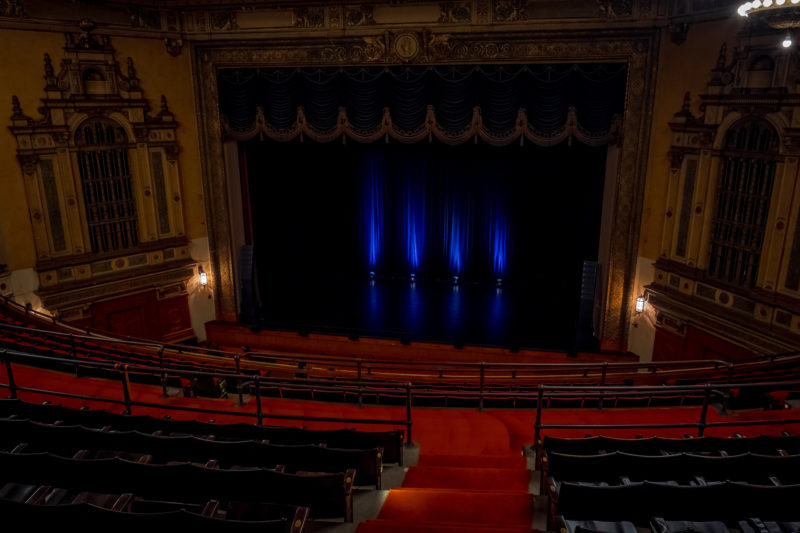 View of the Syney Goldstein Theater stage from the balcony -